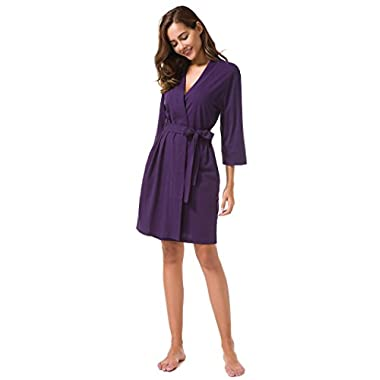 SIORO Cotton Robes Lightweight Kimono Robe Gowns Soft Knit Bathrobe Nightwear V-Neck Loungewear Sexy Sleepwear Short for Women, Eggplant, L