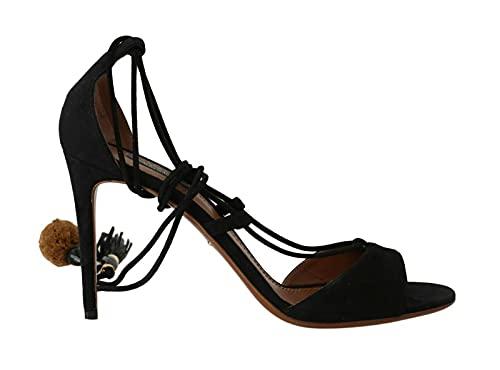 Dolce & Gabbana Black Suede Tassel Strap Stilettos Shoes (numeric_9)
