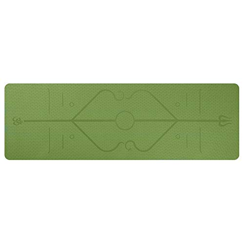 chebao, Esterilla de entrenamiento para yoga, TPE Fitness Yoga Mat Antideslizante Deportes Gym Pads con línea de posición (cian)