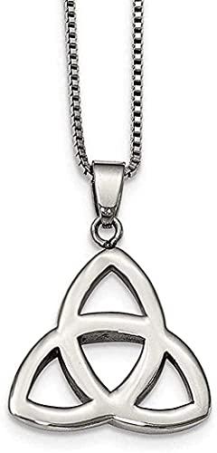 LKLFC Collar para Mujer Collar para Hombre Colgante Trinity Node Collar en Acero Inoxidable 18PO Collar con Colgante Regalo para niñas Niños