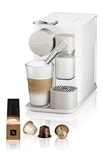 De'Longhi Lattissima One Evo, Macchina da caffè in capsule monouso, Schiumatore per latte automatico, Cappuccino e latte, EN510.W, 1450W, Bianco