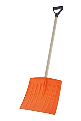 "Superio Kid Snow Shovel with Wooden Handle Kids Size Orange Durable Shovel for Snow - Comfort D Grip on A Sturdy Handle 35 "" Height, Durable Plastic Blade, Kids Safe Shovel"