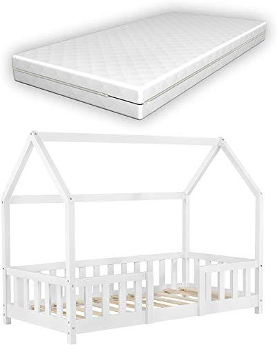 Kinderbett mit Matratze und Rausfallschutz 80x160cm Hausbett mit Kaltschaummatratze Bettenhaus mit Lattenrost Kiefernholz Weiß