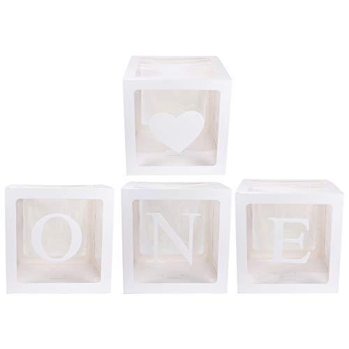 jojofuny 4 Unidades DIY Cajas Transparentes para Globos de Bebé Letras Impresas Cajas de Cubos Transparentes para Decoración de Fiesta Suministros para Fiesta de Cumpleaños para Bautizo