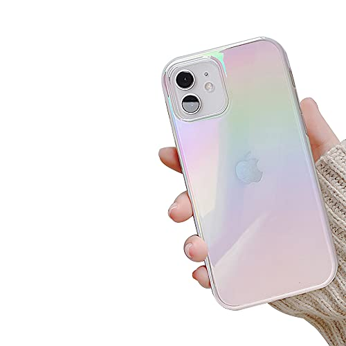 Ownest Compatible with iPhone 12 Case,iPhone 12 Pro Case,Colorful Clear Rainbow Glitter Bling Design TPU and PC Protection Case for Women Girls for iPhone 12/12 Pro-White