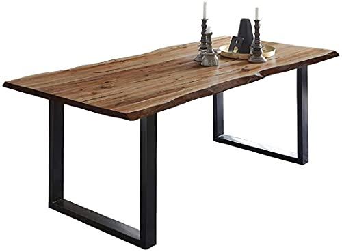 SAM Baumkantentisch 120x80 cm Mephisto, Akazienholz massiv + naturfarben lackiert, Esstisch mit schwarz lackiertem U-Gestell, Esszimmertisch/Holztisch im Industrial-Design, Tischplatte 26 mm