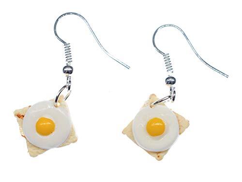 Miniblings Toast mit Ei Ohrringe Hänger Spiegelei Brot Frühstück Toastbrot Brote - Handmade Modeschmuck I Ohrhänger Ohrschmuck versilbert