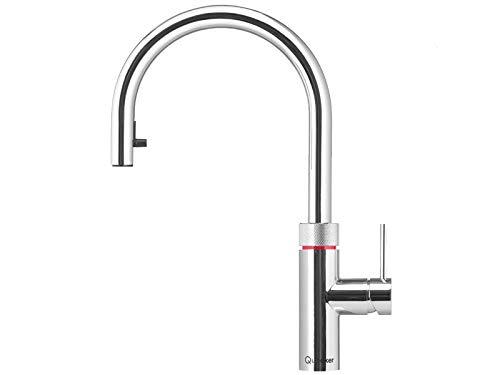 Quooker Flex COMBI 2.2 E Kochendwasserhahn/Kochendwasser-Armatur & Mischbatterie/ausziehbarer Auslauf/verchromt glänzend (CHR)