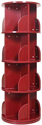 AGWa Regale Bookshelf Runde Rotating Bücherregal 4-Schicht-Massivholzrahmen Regale Cubes,Kirsche
