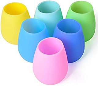 Silicone Wine Glasses Set of 6 – Outdoor Camping Unbreakable Rubber Wine Glasses, 12 oz 100% Dishwasher Safe Shatterproof Rainbow Silicone Cups for Travel Picnic Beach Pool by Mofason
