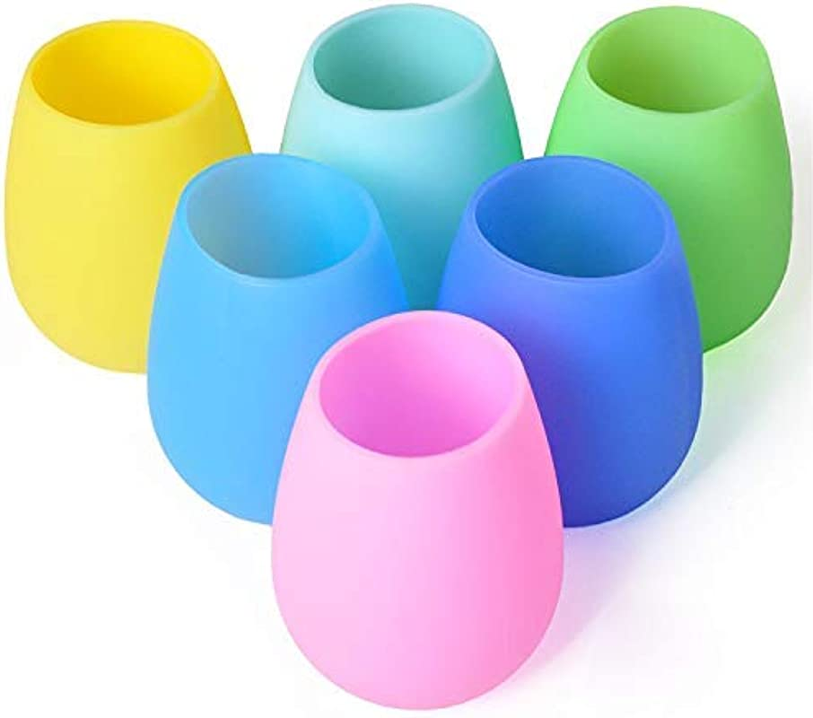 Silicone Wine Glasses Set Of 6 Outdoor Camping Unbreakable Rubber Wine Glasses 12 Oz 100 Dishwasher Safe Shatterproof Rainbow Silicone Cups For Travel Picnic Beach Pool By Mofason