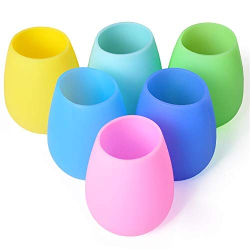 Silicone Wine Glasses Set of 6 – Outdoor Camping Unbreakable Rubber Wine Glasses, 12 oz...