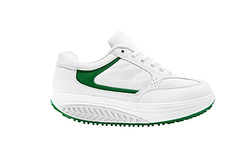 Mapleaf ortopédica Zapatillas Mujer Hombre Running Bambas Air Deportivas Zapatos Tenis Futbol Baloncesto Andar Fitness Calzado Zuecos Comodos Antideslizante Atletico Trainer Zapato Verde Talla 36