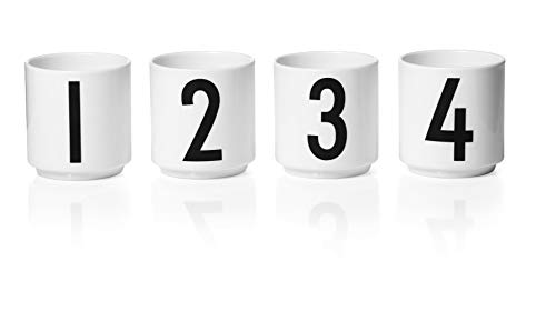 Design Letters Espressotassen, 4 Stück (Weiß) - Mini-Tassen aus feinem Bone China-Porzellan mit gravierten Buchstaben, Ideal für Espresso oder Dekoration, Zubehör ist separat erhältlich, 50 ml