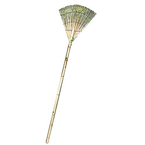 Bamboo Garden Rake for Leaves,Long Handle Garden Rake,33 Tines Shrub Rake,Lightweight Handle Thatch Rake,Professional Lawn Rake to Collect Leaf & Poop Among Yards