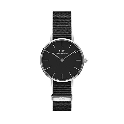 Daniel Wellington Petite Cornwall, Schwarz/Silber Uhr, 28mm, NATO, für Damen