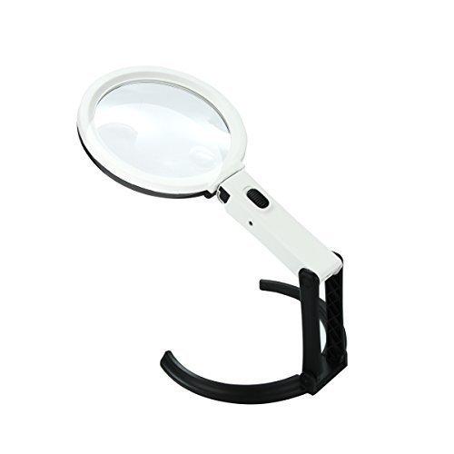 Xcellent Global Lente d'Ingrandimento 2X/5X Portatile Pieghevole da Tavolo con Lampada 12 LED I-LD072