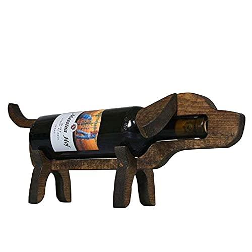 HMHMVM Soporte de Botella de Vino de Madera Perro Lindo Forma de Cerdo Estante de Vino Pantalla Organizador de Almacenamiento Estante de Vino