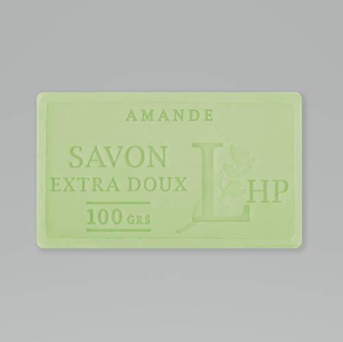 PRODUIT DE PROVENCE - LOT DE 19 SAVONS AMANDE - SAVON DE MARSEILLE EXTRA DOUX 100 G - DÉLICAT PARFUM NATUREL D'AMANDE - GARANTI SANS PARABEN
