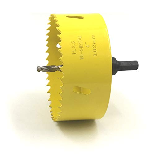 JIECHENG HSS Bi-metal Hole Saw With Arbor Mandrel 4-inch 102 mm For Metal,Stainless Steel,Cornhole Boards,Drywall,Plastic,Brass,Aluminum,Iron and Wood