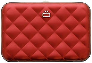 Quilted Button Aluminium Wallet - Women - RFID Blocking Card Holder - Up to 10 Cards and Banknotes