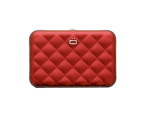 �gon Designs � Quilted Button Aluminium Wallet - Women - RFID Blocking Card Holder - Up to 10 Cards and Banknotes - Red