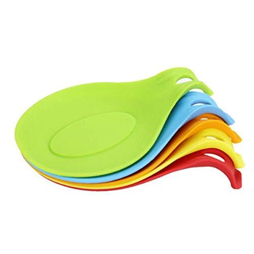apoya cuchara resto de 100% silicona de grado alimenticio para utensilios de cocina,grande,colorida 5 unidades