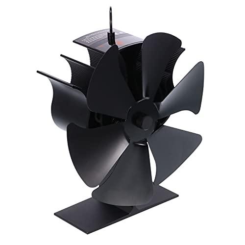 Ventilador De Calor con 6 Alas Soplador De Circulación De Calor para Estufas De Aluminio con Tira De Visualización De Temperatura para Madera/leña/Chimenea