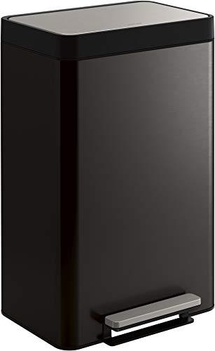 Kohler K-20956-BST Dual Compartment Step Trash Can, Liner, Black Stainless