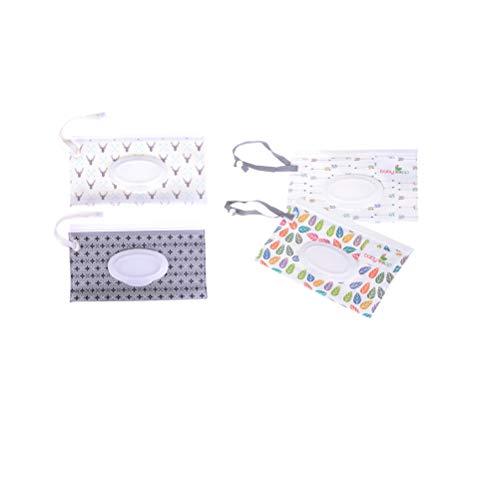 Fadacai Feuchttücher für Babys, Reisetücher, wiederverwendbar, nachfüllbar, tragbar, 4 Stück