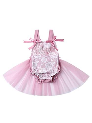 Aiihoo Bebé niña de una pieza falda mono sin mangas correas malla tul vestido sin espalda estilo mono, rosa, 24 meses