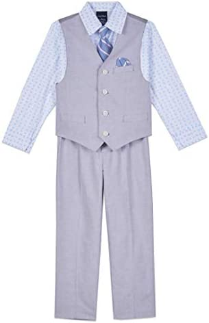 Nautica Boys Toddler 4 Piece Set with Dress Shirt Tie Vest and Pants Grey Mouse 2T product image
