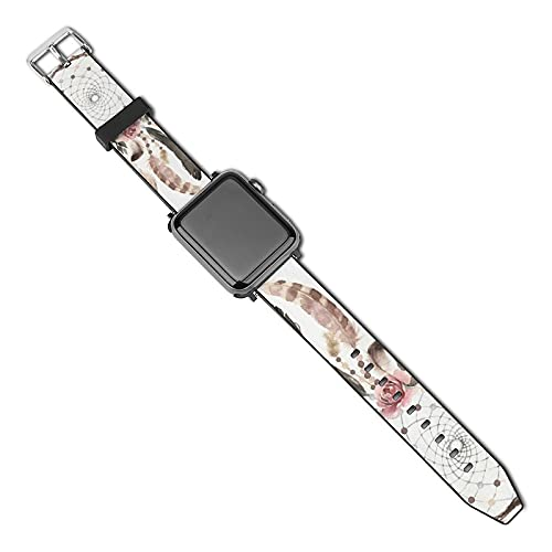 Acuarela Dream Catcher Correa de piel compatible con Apple Watch Correa de 38 mm, 40 mm, 42 mm, 44 mm, correa de cuero de repuesto compatible con iWatch Series 5, 4, 3, 2 1