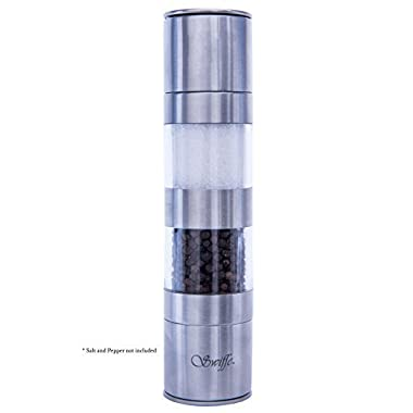 Swiffe; 2 in 1 Best Salt and Pepper Grinder Shaker - Adjustable Coarseness - Stainless Steel and Acrylic for Gourmet Kitchen Chefs - Good Fresh Grind - Stylish Classic Design Nice On Table