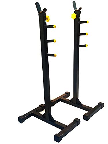 Protoner Blend Squat Stand with Safety Support Adjustable Height (Black and Yellow)