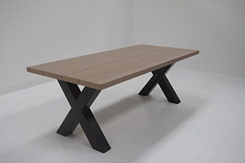 IDEA Table de sejour Xenos avec Pieds-X en Metal Noir, Plateau Coloris Chene Beaufort 220 cm