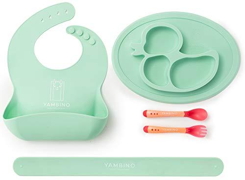BPA-freies Babygeschirr – Designed in Germany – Kleckerfreies Esserlebnis – Babyteller, Lätzchen Baby mit Auffangschale & Esslernbesteck – Sicheres Esslernset von YAMBINO® (Türkis)