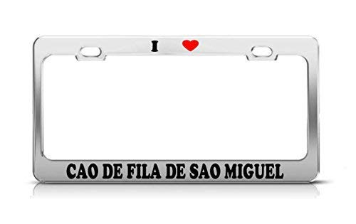Liz66Ward Nummernschild mit Aufschrift I Heart Cao De Fila De Sao Miguel Katze, Hund Welpen, lustiges Metall, Chrom