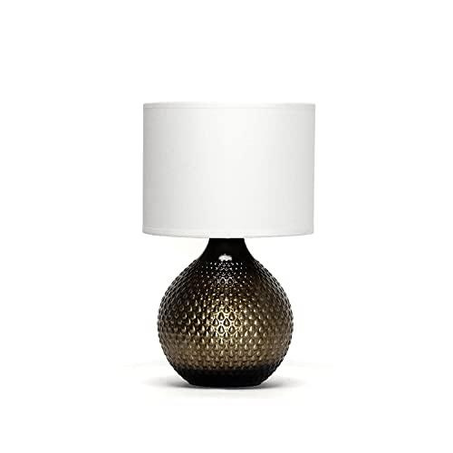 Lampada da tavolo lampada da comodino/oro e bianco / 1x E14 / lampada da tavolo soggiorno/lampada da comodino in tessuto abat-jour/corridoio camera da letto/illuminazione interna