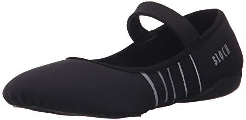 Bloch Women's Contour Rubber Front-Sole Pilates/Yoga/Barre Studio Athletic Shoe Dance, Black/Silver, 7 M US