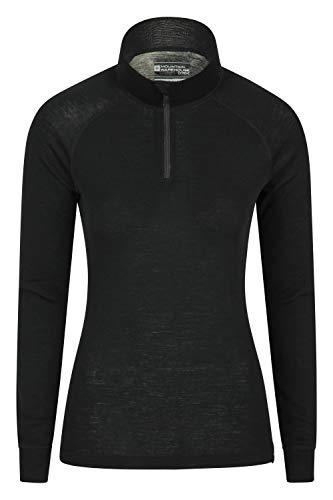 Mountain Warehouse Merino Baselayer-Thermotop für Damen - Leichtes, atmungsaktives Damen-T-Shirt, antibakterielle Bluse - Für Urlaub bei kaltem Wetter Winter Baselayer Schwarz 40