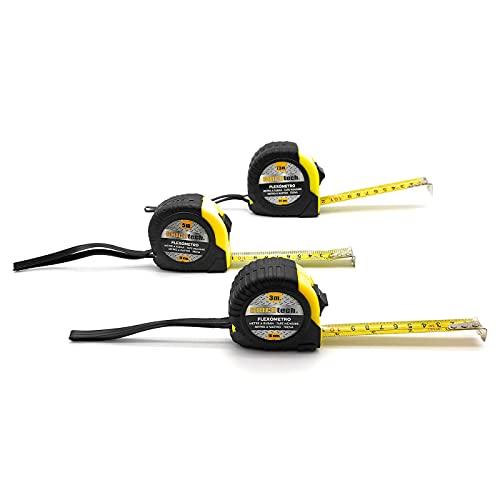 Bricotech - Juego de 3 cintas métricas de 7,5 m, 5 m y 3 m, flexómetros profesionales retráctiles, freno de seguridad, clip de sujección para cinturón, construcción, contratista, bricolaje