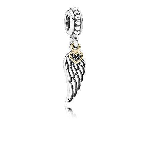 FGT Sterling Silver Angel Wing Charm for Bracelets Feather Charm Dangle Gold Heart Charm for Women Girls Birthday Gift