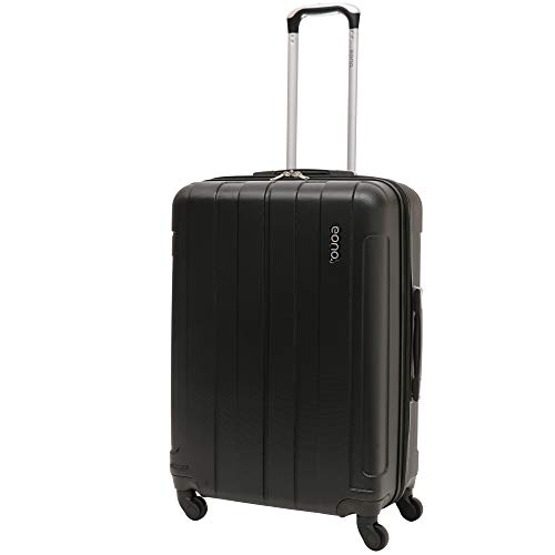 EONO Essentials Medium 25' ABS Hard Shell Travel Trolley Check in Hold Luggage Suitcase with 4 Wheels, Black