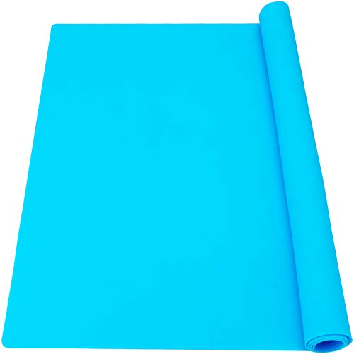 27.6 x 19.7 inches Oversize Silicone Mats, Gartful Nonstick Silicone Craft Sheets for Resin Molds, Multipurpose Countertop Mats for Epoxy Resin, Glitter Slime, Paint, Blue