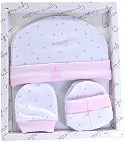 Set manoplas patucos y gorrito recién nacido color rosa, primera puesta bebe 100% algodón