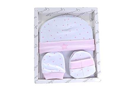 Primera puesta manoplas patucos y gorrito recién nacido color rosa, caja regalo bebe 100% algodón