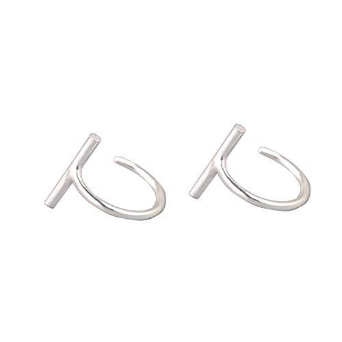 Minimalist Mini Stick T Bar Half Huggie Hoop Cuff Stud Earrings 925 Sterling Silver Small Hoops Cartilage Fashion Geometric Piercing Studs for Women Girls Sensitive Ears