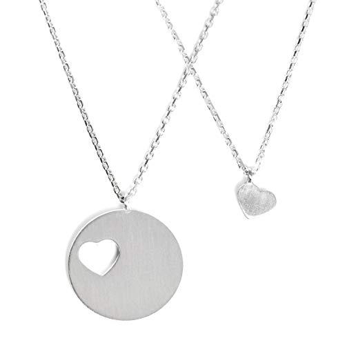 Beka Bell 2 Ketten für Mutter und Tochter oder Freundinnen mit Herz 925 Echt Silber, verstellbare Länge von 42cm und 45cm
