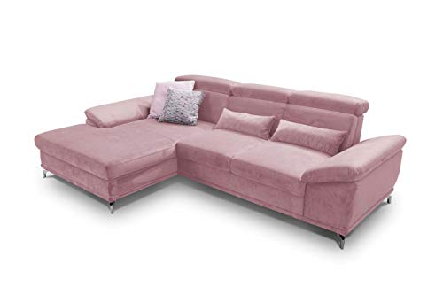 CAVADORE Ecksofa Capri / Sofaecke mit XL-Longchair links / Inkl. Sitztiefenverstellung & Kopfteilfunktion / 295 x 85-103 x 181 / Mikrofaser: Rosa
